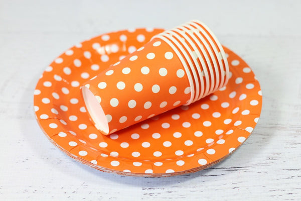 Orange Polka Dot Paper Plates - Pop Roc Parties