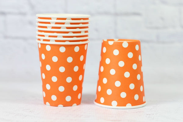 Orange Polka Dot Paper Cups - Pop Roc Parties