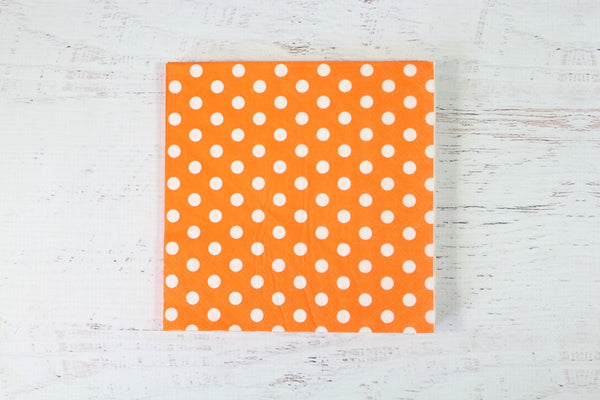 Orange Polka Dot Napkins - Pop Roc Parties