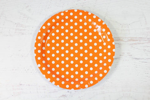 Orange Polka Dot Paper Plates
