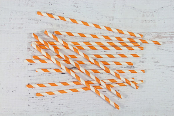 Orange Stripe Paper Straws - Pop Roc Parties