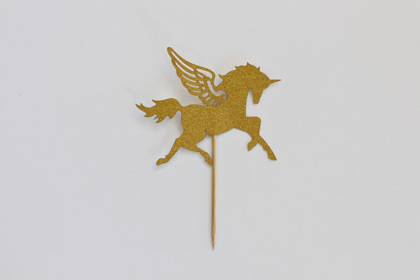 Gold Glitter Pegasus Cake Topper - Pop Roc Parties