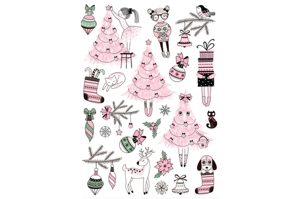 Pink Christmas Temporary Tattoos | Pop Roc Parties