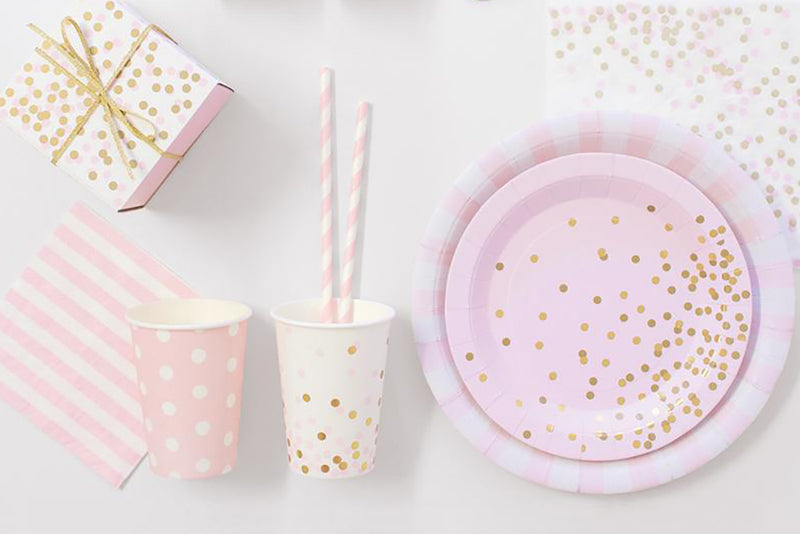Pink Confetti Cups-Pop Roc Parties