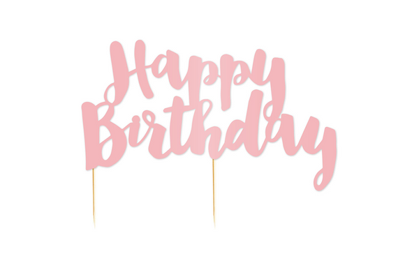 Pink 'Happy Birthday' Cake Topper | Pop Roc Parties