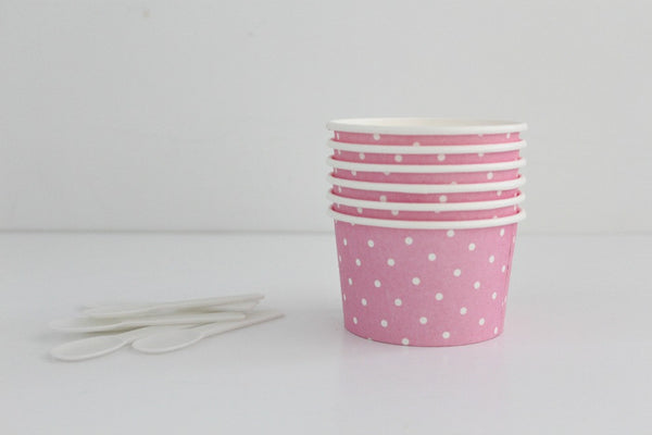 Pink Polka Dot Ice Cream Cup Set - Pop Roc Parties