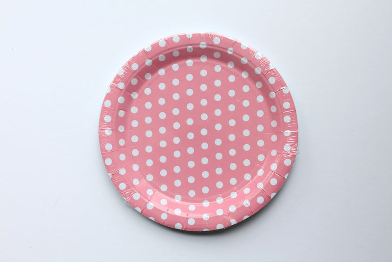 Pink Polka Dot Paper Plates - Pop Roc Parties