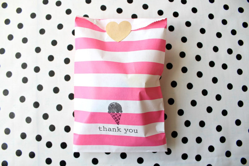 Pink Horizontal Stripe Paper Bags - Pop Roc Parties