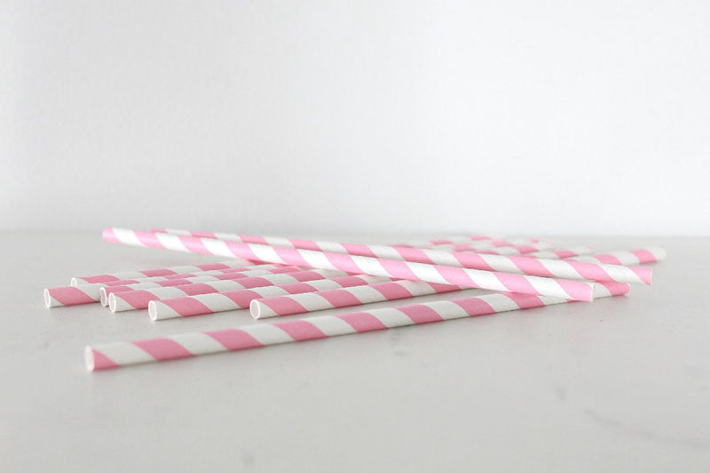 Pink Stripe Paper Straws | Pop Roc Parties