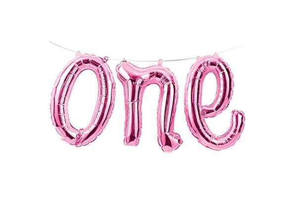 Pink Foil 'one' Balloon Banner-Pop Roc Parties