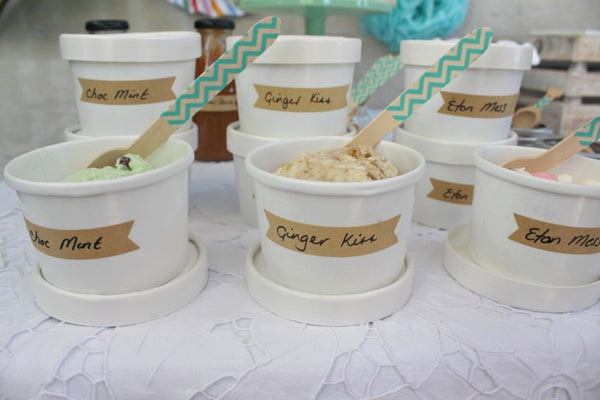White Ice Cream Tub with Lid - Pop Roc Parties