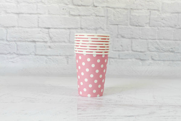 Baby Pink Polka Dot Paper Cups - Pop Roc Parties