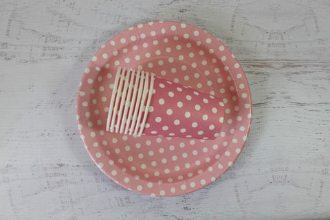 Baby Pink Polka Dot Paper Cups