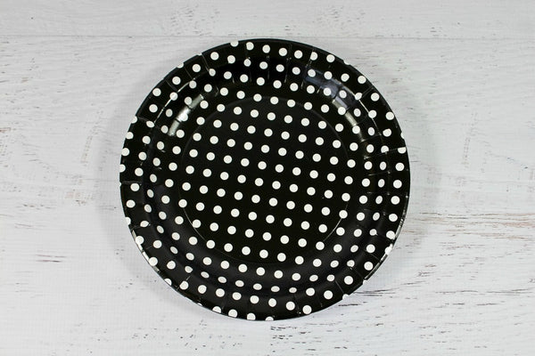 Black Polka Dot Paper Plates - Pop Roc Parties