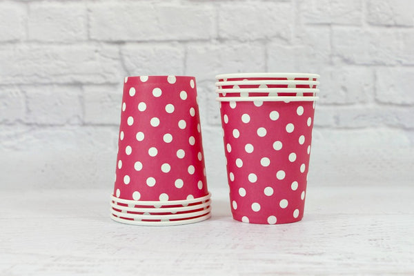 Magenta Polka Dot Paper Cups - Pop Roc Parties