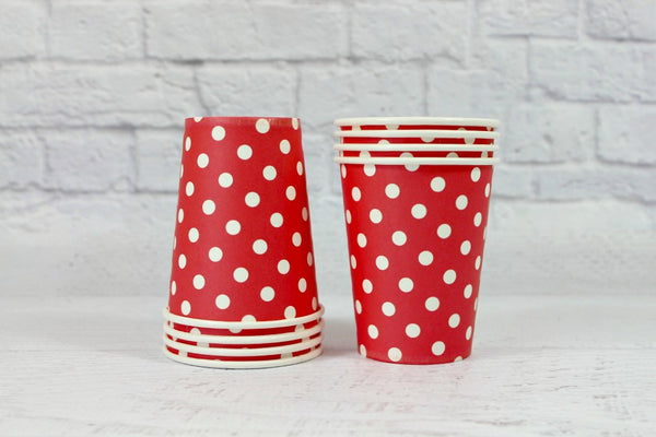 Red Polka Dot Paper Cups - Pop Roc Parties