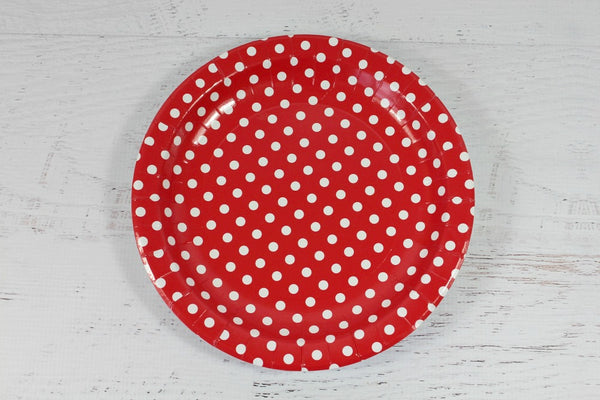 Red Polka Dot Paper Plates - Pop Roc Parties