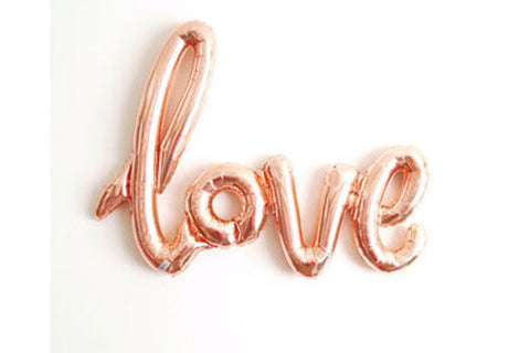 Metallic Rose Gold Foil LOVE Script Balloon - Pop Roc Parties