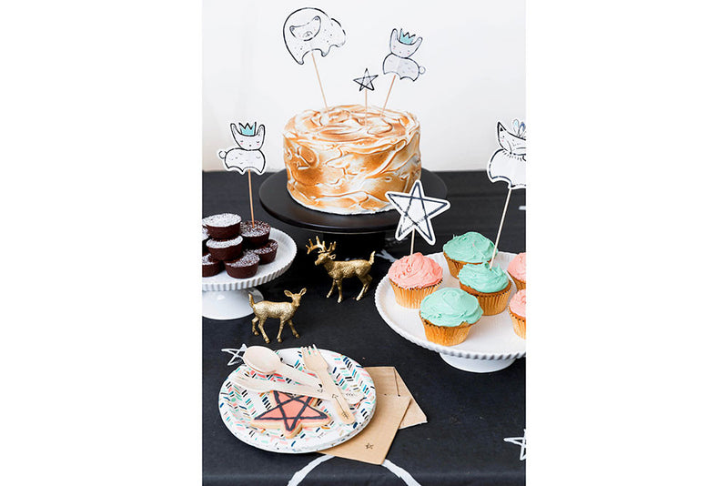 Modern Camp Woodland Animal & Star Cake Toppers - Pop Roc Parties