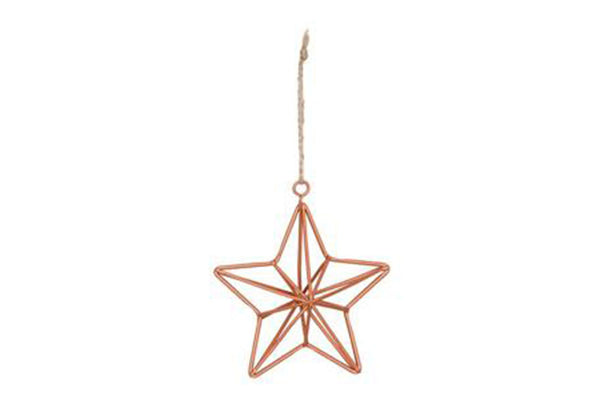 Hanging Copper Geometric Star Decoration - Pop Roc Parties