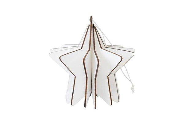 White Wooden 3D Star Hanging Decoration | Pop Roc Parties