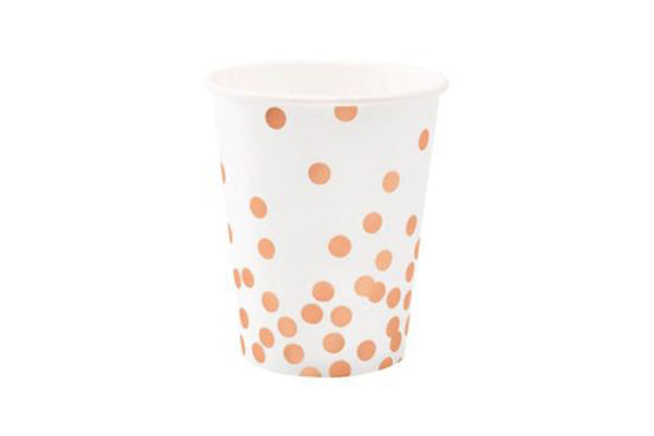 Rose Gold Confetti Cups - Pop Roc Parties