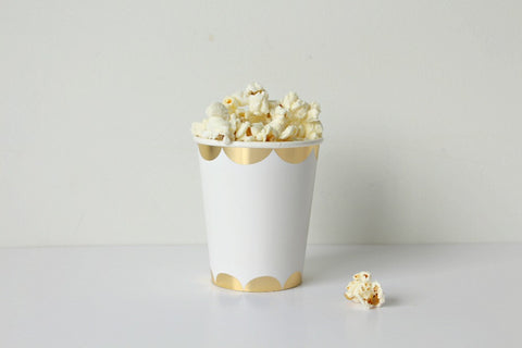 Toot Sweet Gold Scallop Party Cups