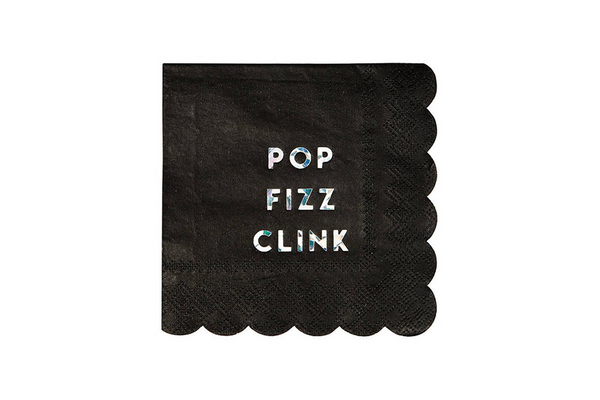 Pop Fizz Clink Napkins - Black | Pop Roc Parties