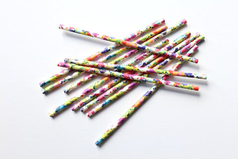 Bright Floral Paper Straws