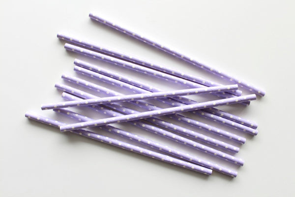 Lavender Solid Sweet Spotted Paper Straws - Pop Roc Parties
