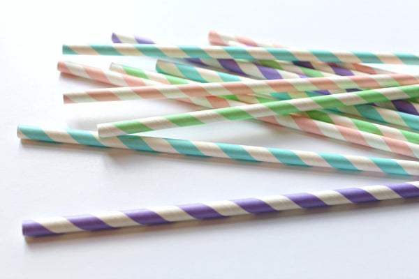 Pastel Stripe Straw Mix - Pop Roc Parties