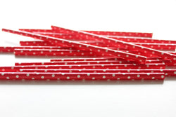 Red Solid Sweet Spotted Paper Straws | Pop Roc Parties