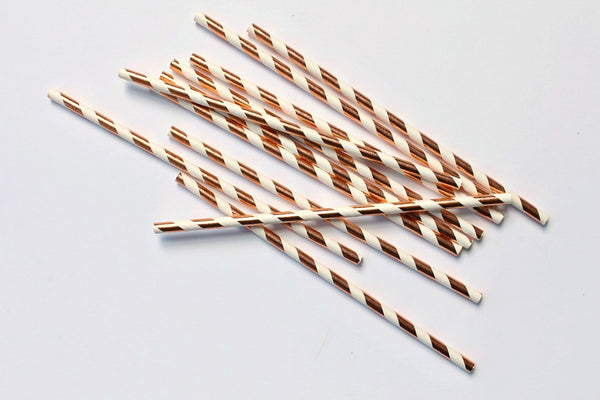 Rose Gold Foil Stripe Paper Straws | Pop Roc Parties