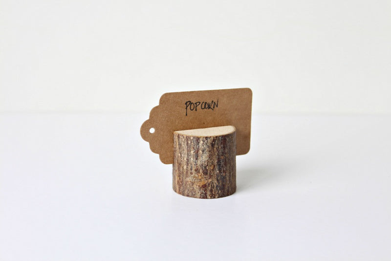 Mini Wooden Log Sign Holders | Pop Roc Parties