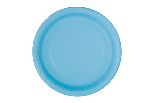 Powder Blue Small Paper Plates - Pop Roc Parties
