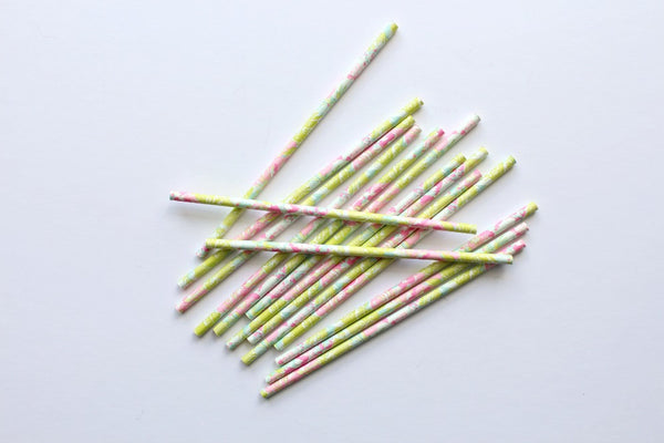 Pretty Floral Paper Straws - Pop Roc Parties