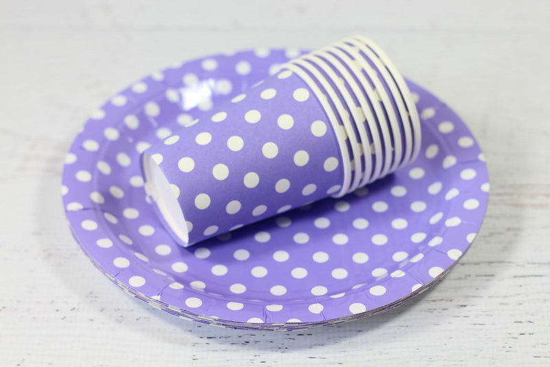 Purple Polka Dot Paper Plates - Pop Roc Parties