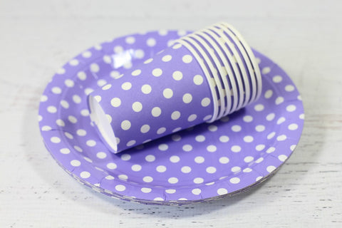 Purple Polka Dot Paper Plates