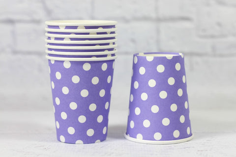 Purple Polka Dot Paper Cups