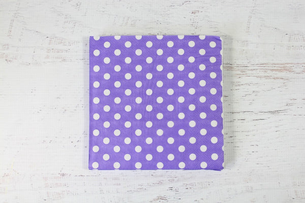 Purple Polka Dot Napkins - Pop Roc Parties