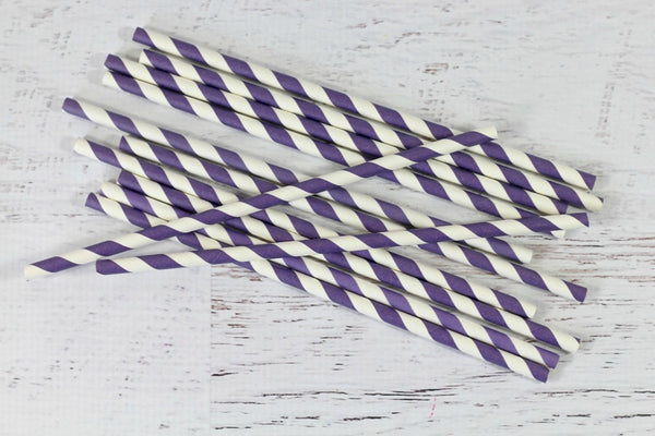 Purple Stripe Paper Straws
