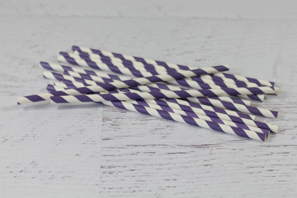 Purple Stripe Paper Straws - Pop Roc Parties