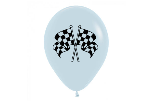 Racing Flags White Balloon | Pop Roc Parties