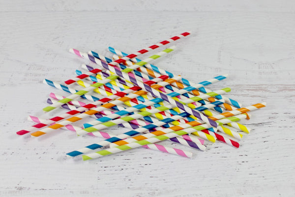 Rainbow Stripe Paper Straws Set | Pop Roc Parties