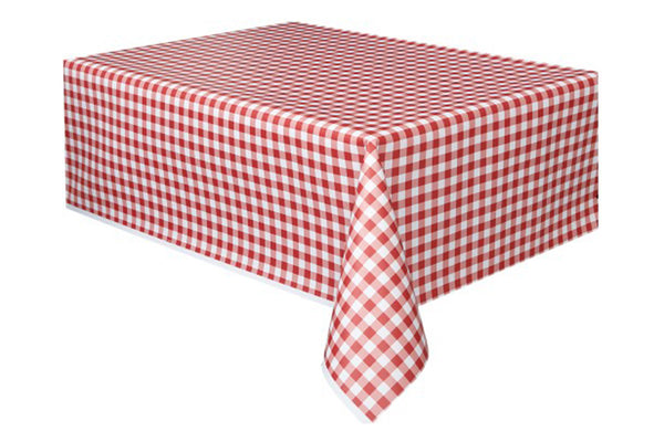 Red Gingham Table Cover - Pop Roc Parties