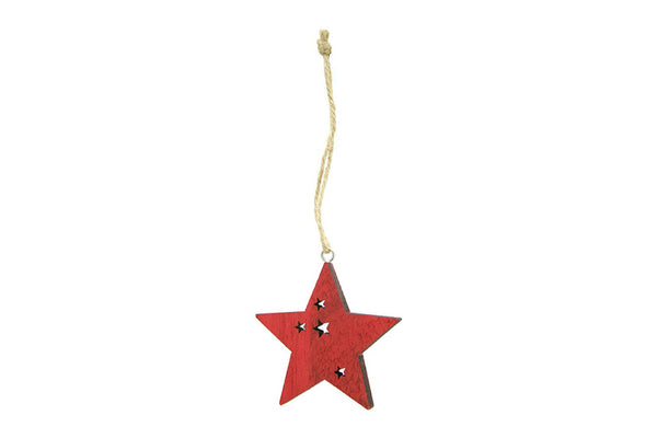 Red Wooden Star Decoration | Pop Roc Parties