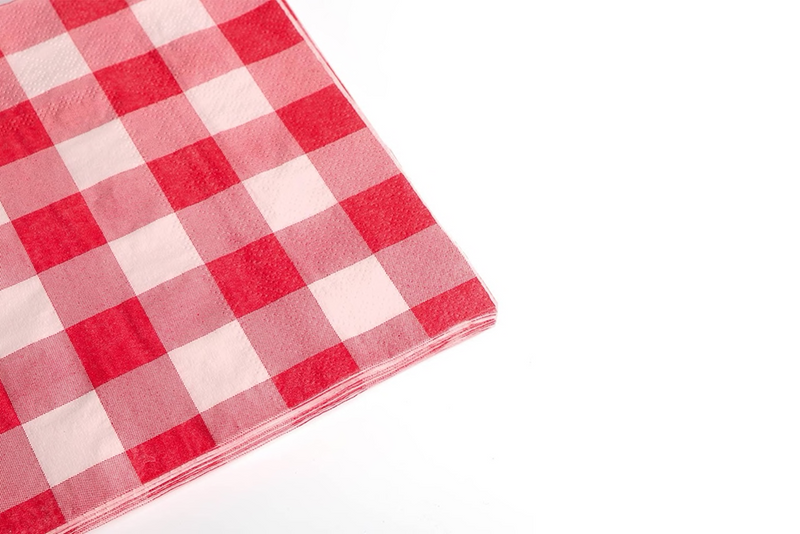 Red Checkered Paper Napkins | Pop Roc Parties