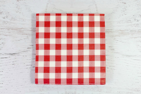 Red Checkered Paper Napkins Pop Roc Parties