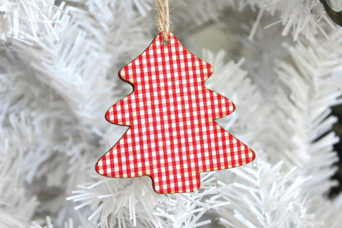 Wooden Gingham Christmas Tree Decorations