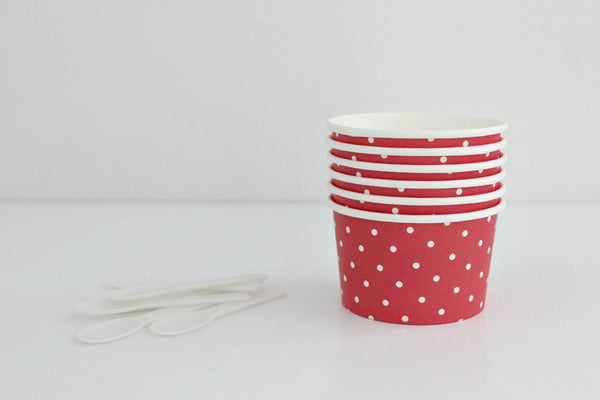 Red Polka Dot Ice Cream Cup Set